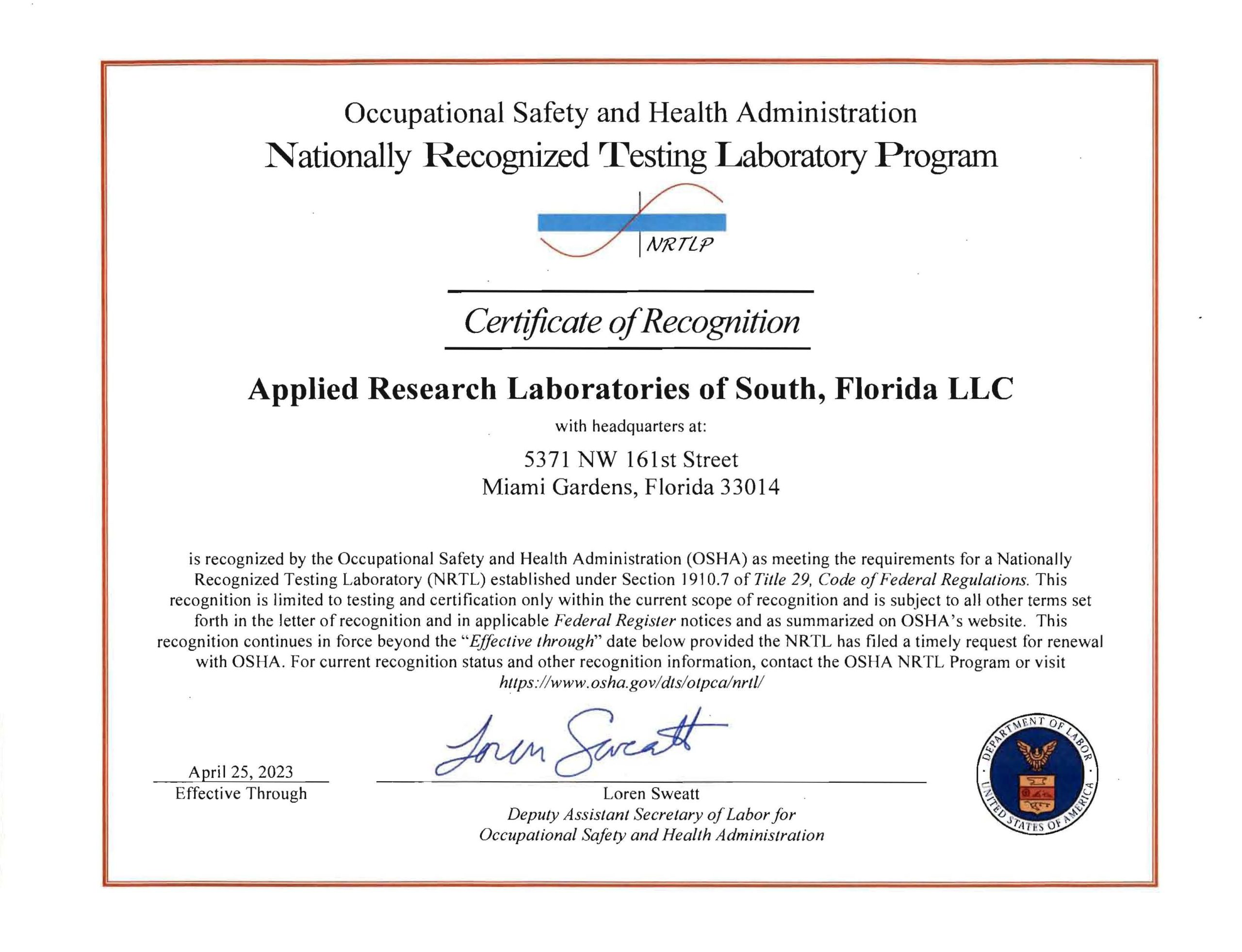 Accreditations And Certifications Arl Applied Research
